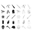 types of weapons blackoutline icons in set vector image vector image