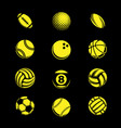 yellow sport balls grunge vector image vector image