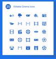 25 cinema icons vector image vector image