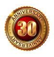 30 years anniversary golden label vector image