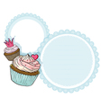 A round stationery with two cupcakes vector image vector image