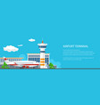 banner of airport with control tower and airplane vector image vector image
