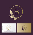 beauty salon logo b monogram floral vector image vector image