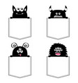 black monster silhouette set in pocket vector image vector image