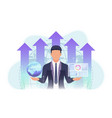 businessman holding world and business chart with vector image