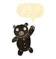 cartoon cute black teddy bear with speech bubble vector image