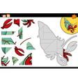 cartoon hermit crab jigsaw game vector image