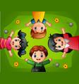 cartoon kids lying on green grass vector image vector image