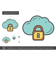 Cloud security line icon vector image vector image
