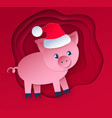 cut paper style new year pig vector image