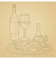 Dinner with wine and pizza vector image vector image
