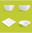 empty white plates set isolated vector image vector image