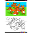 foxes animal characters group coloring book vector image
