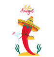 funny chili pepper in sombrero holds a cocktail vector image vector image