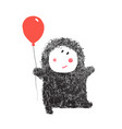 funny hairy baby with balloon vector image vector image