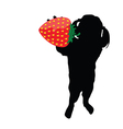 girl with strawberry silhouette vector image vector image
