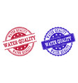 grunge scratched water quality stamp seals vector image vector image