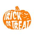 halloween trick or treat orange pumpkin with bats vector image vector image