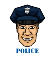 Happy police officer in blue uniform vector image vector image