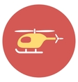 Helicopter Flat Round Icon vector image