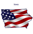 iowa full american flag waving in wind vector image vector image