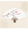 japanese fan sakura white background image vector image