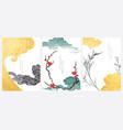 japanese wave pattern with art landscape banner vector image vector image