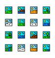 landscapes icons set vector image
