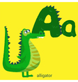 Letter A with Cute Alligator for Children Books vector image