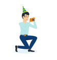 male celebrating birthday with guests vector image