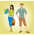 Man and shopping girl vector image vector image