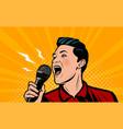 man screaming loudly into microphone retro comic vector image vector image