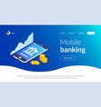 mobile banking concept online bank template bank vector image vector image