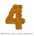 number four of autumn leaves vector image