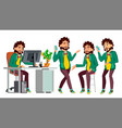 office worker in action face emotions vector image