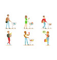 people carrying shopping bags and pushing carts vector image vector image