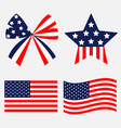 ribbon bow star shape american flag wave icon set vector image vector image