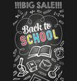 sale offer banner of school supplies on blackboard vector image