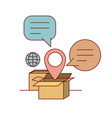 set cardboard with callout and symbol global and vector image vector image
