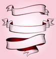 set of vintage red ribbons vector image