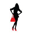 silhouette a lady vector image