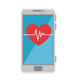 smartphone device with heart cardio vector image vector image