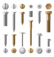 stainless bolts screws nuts fasteners and rivets vector image