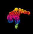 superhero robot flying action cartoon vector image