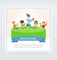 teacher and group of children at paper craft vector image vector image