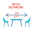 two chairs and table on minimum distantion to vector image