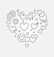 valentines heart outline concept vector image