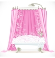 Vintage claw-foot bathtub and a pink curtain on vector image vector image