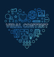 viral content heart blue concept linear vector image