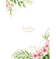 watercolor card pink flowers and almond vector image vector image